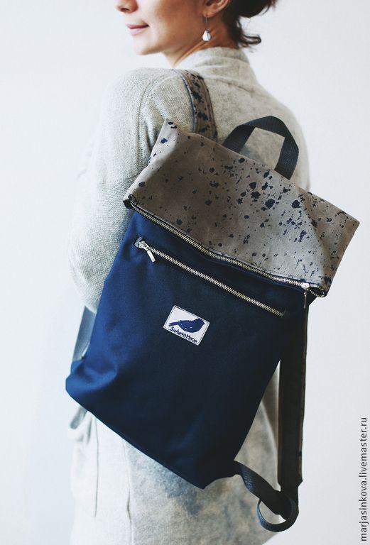 Купить рюкзак для города - голубой, однотонный, пятна, минимализм, стиль, унисекс, мужской, женский, универсальный