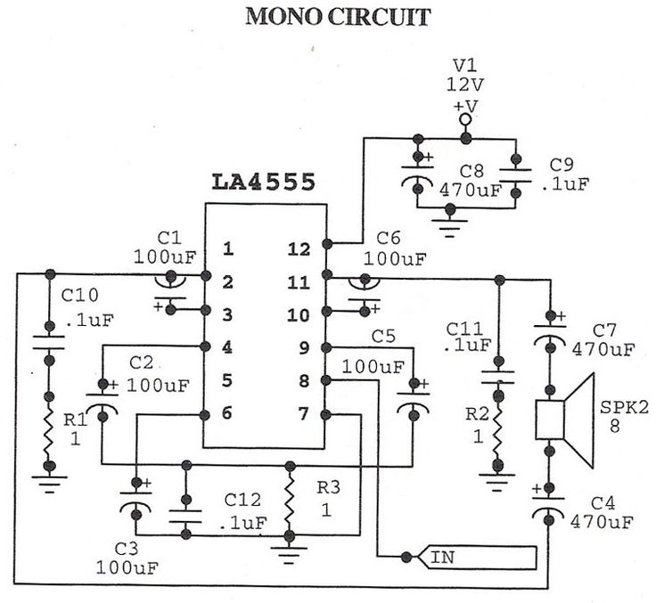 stereo circuit and mono circuit are given in schematic  la