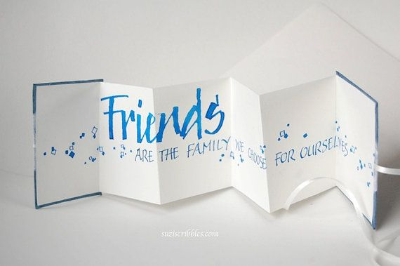 Friend accordion card calligraphy concertina book by suziscribbles,