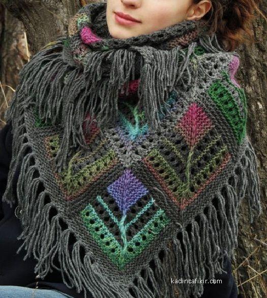 modern ucu puskullu renkli gri renk on planda tarz moda yeni sezon orgu sal modeli ornegi   Kadınca Fikir