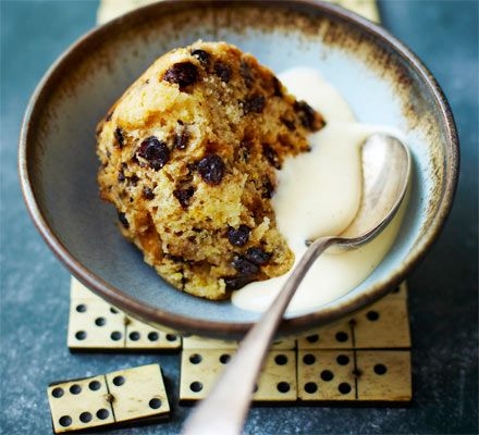 Spotted Dick: Steam a traditional fruity sponge pudding with suet, citrus zest and currants then serve in thick slices with hot custard