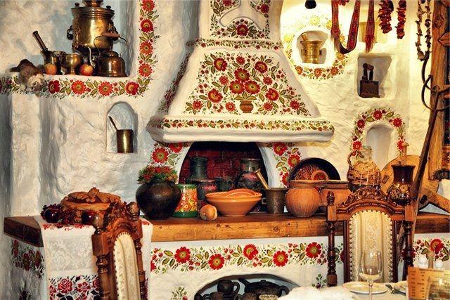 Русский печь в интерьере