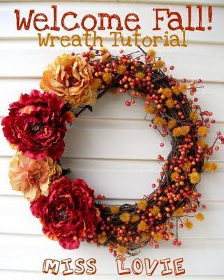 DIY Fall Wreath: Wreaths Tutorials, Fall Decor, Fall Crafts, Front Doors, Fall Wreaths, Wreaths Ideas, Fall Flower, Autumn Wreaths, Diy Fall