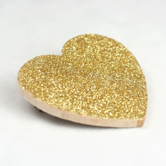 The Small Object: Gold Glitter Heart Pin