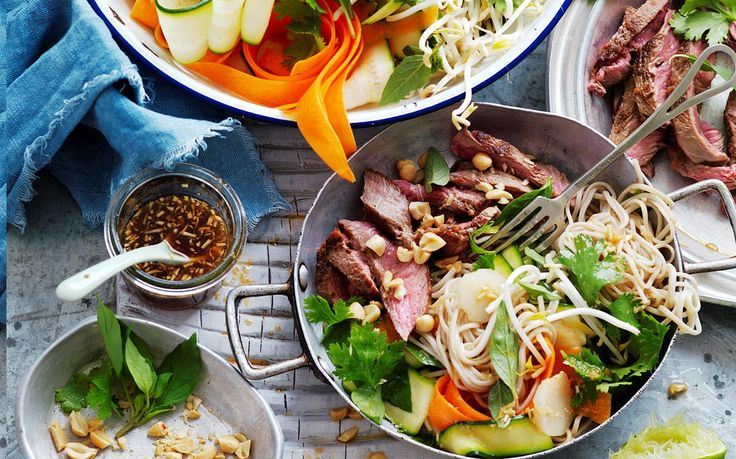 Noodle salad with ginger-rubbed beef recipe - By Australian Women's Weekly, This tasty Asian fusion noodle dish is packed full of veggies and delicious ginger spiced flash-fried beef. Perfect for lunch or a quick weeknight dinner. And it's suitable for diabetics.