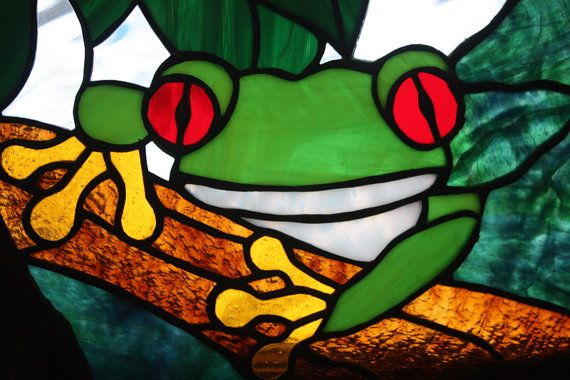Stained Glass Tree Frog Panel by BerlinGlass on Etsy, $49.00