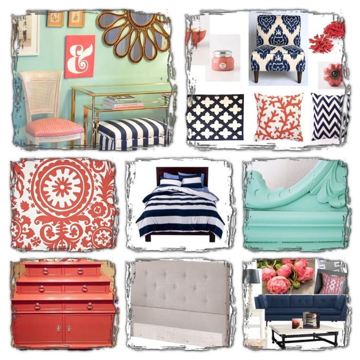 My bedroom board navy mint and coral bathrooms pinterest mint navy and bedrooms for Navy blue and coral bedroom ideas