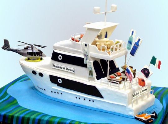 YACHT CAKE - This was a unique challenge! With quite a large list of 'required items' on the cake … including books, a couple of jet skis, a Guns-n-Roses towel, a jacuzzi, an Italian sandwich, a bucket of limes, and more…!