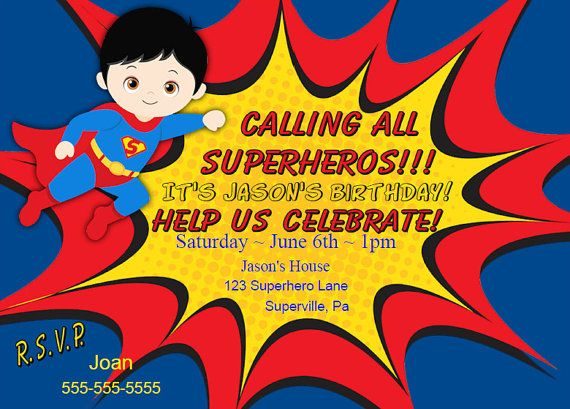 Superman Invitation Superheros Birthday Invitation Printable DIY Personalized Party Invitation for Kids Free Thank You Note Instant Download