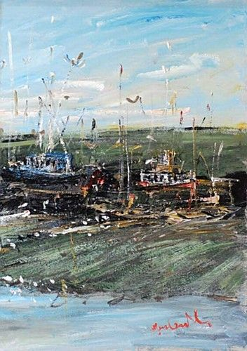 "Marie Carroll ""Boats at the Harbour"" #irishart #painting #art #impressionism #dukestreetgallery #boats #dublinbay #sea #harbour #summer"