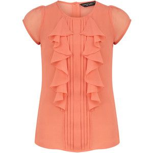 Coral short sleeve frill top