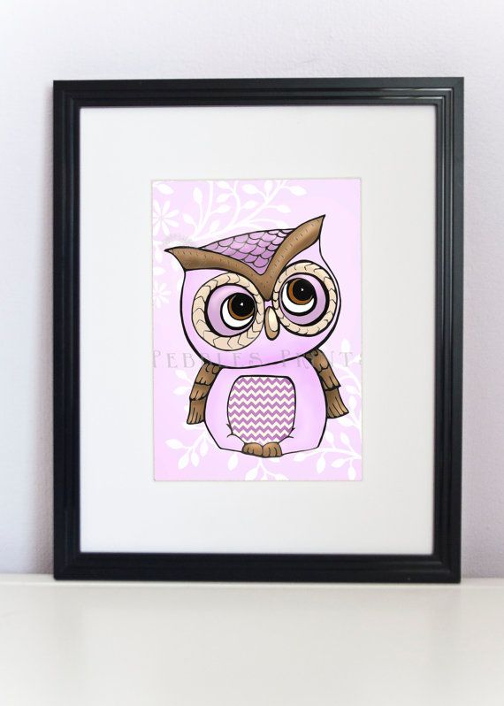 Owl Art Print 8x10  Quirky Little Purple Owl by PebblesPrints, $15.00: 8X10 Quirky, Art 4X6, Prints 8X10, Purple Owl, Owl Art, 5X7 8X10, Owl Rooms, Art Prints, Baby Rooms