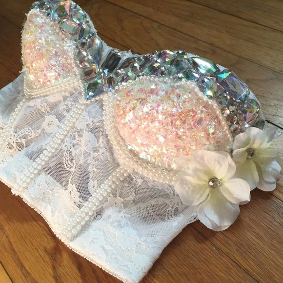 White rave bra/corset White corset with diamonds pearls and flowers, can be made in any size and any color. Custom orders are now available at ultimateravebra@gmail.com Intimates & Sleepwear Bras