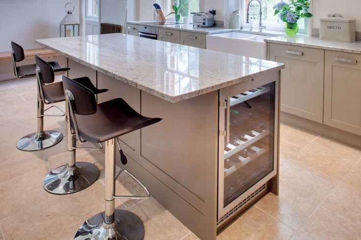 kitchen island with wine fridge - Google Search