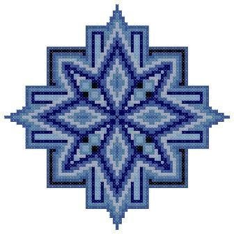Blue Mandala Counted Cross Stitch Pattern PDF