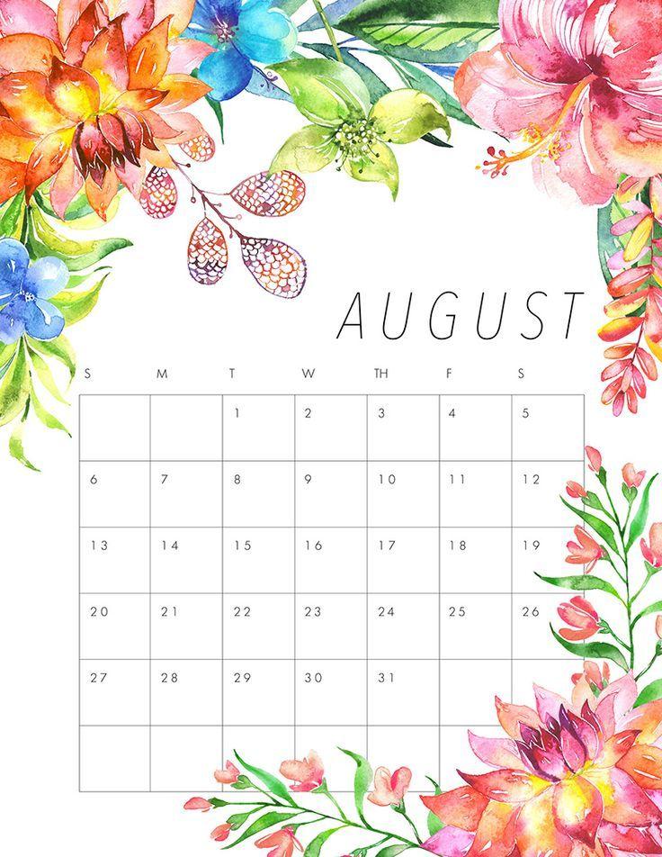 august 2018 family calendar printable