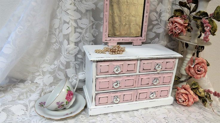 Vintage Shabby Jewelry Box Painted Custom White and Pink Music Box - Jewelry Chest with Standing Mirror - Girls Jewelry Box by TimesPast72 on Etsy https://www.etsy.com/listing/295221553/vintage-shabby-jewelry-box-painted