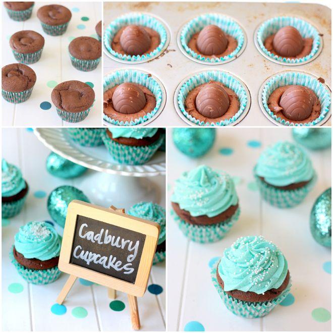How to Make Cadbury Egg Cupcakes!