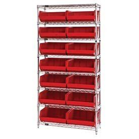 14x36x74 Chrome Wire Shelving With 14 Giant Stacking Bins Red by QUANTUM STORAGE SYS. $404.00. CHROME WIRE SHELVING WITH GIANT BINS 14D Shelving with 14 Giant Bins Attractive chrome wire shelving units include giant stacking bins with open hopper fronts for easy access. Chrome wire steel shelving offers an attractive appearance thats ideal for retail and display. Heavy duty chrome wire shelving offers 600 lb. shelf capacity. Chrome wire shelves feature truss perime...