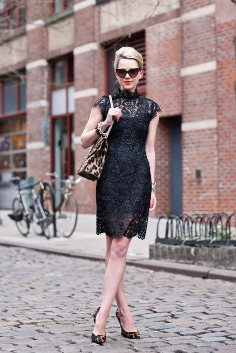 black lace dress with leopard print bag and pumps