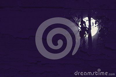 Moon behind trees. Background texture.