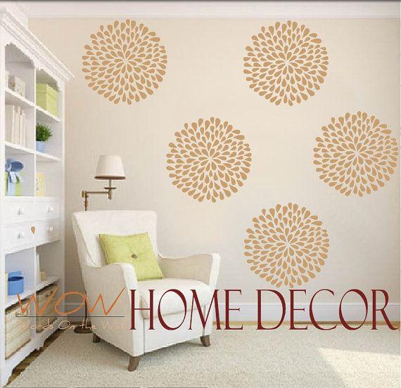 "Vinyl Wall Decal Art - Set of 9 - 6"" Rain Drop Flower wall pattern. Wall paper substitute. Wall stencil"
