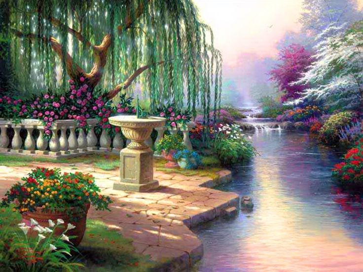 Outstanding painting by Thomas Kinkade of a small park, with a river and beautiful flowers and an old fashion sun dial. Description from aaathemes.com. I searched for this on bing.com/images