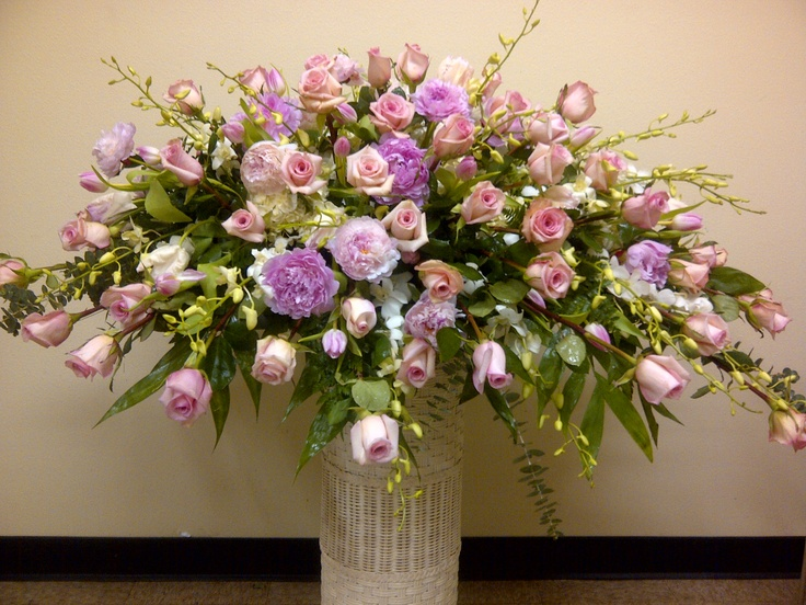 Peonies, Roses & Orchids Casket Spray