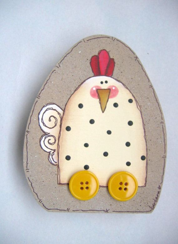 Whimsical Shelf Sitter Egg with Chicken On by barbsheartstrokes,