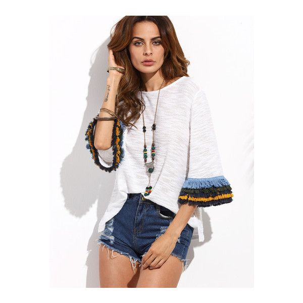 SheIn(sheinside) Beige Fringe Cuff Bell Sleeve T-shirt (64 SAR) ❤ liked on Polyvore featuring tops, t-shirts, beige, fringe t shirt, half sleeve t shirts, white t shirt, bell sleeve tops and cotton tee