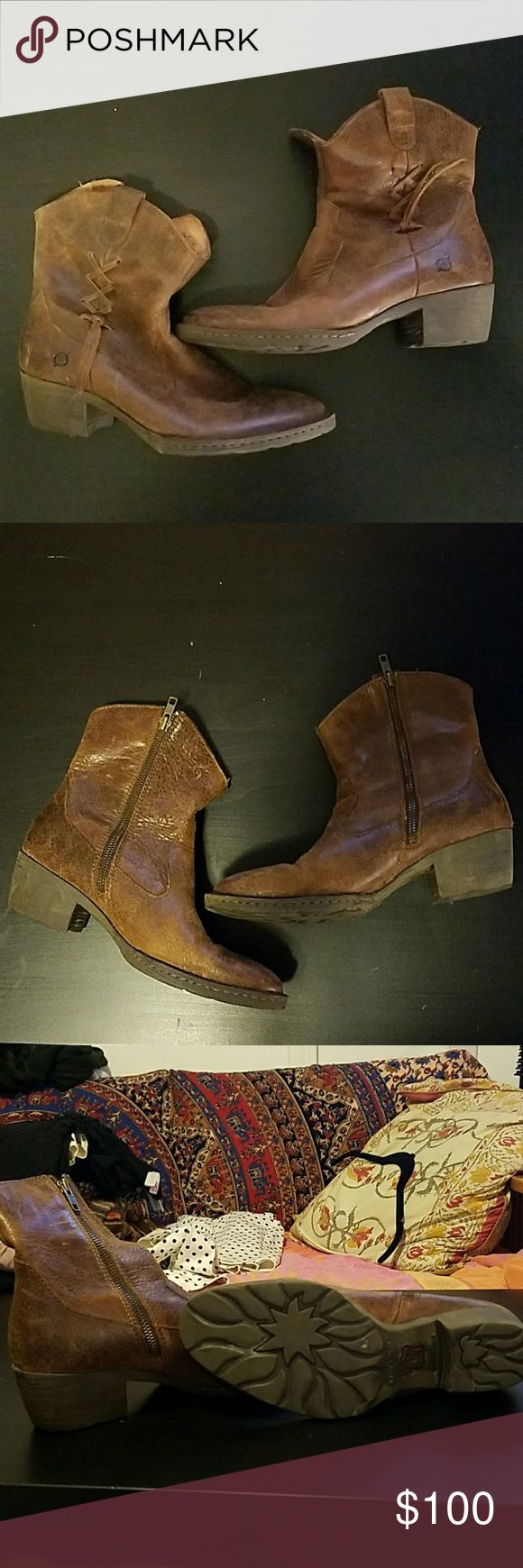 """Born booties size 8 /39 brown 1"""" heeled zip up barely worn! Born Shoes Ankle Boots & Booties"""