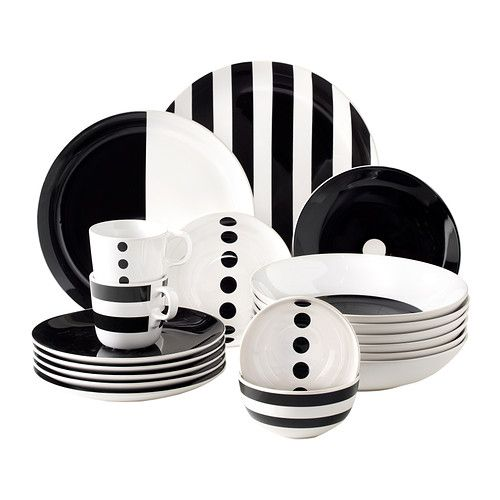 TICKAR Bowl IKEA The graphic pattern is inspired by Scandinavian simplicity and gives the dinnerware a stylish character.