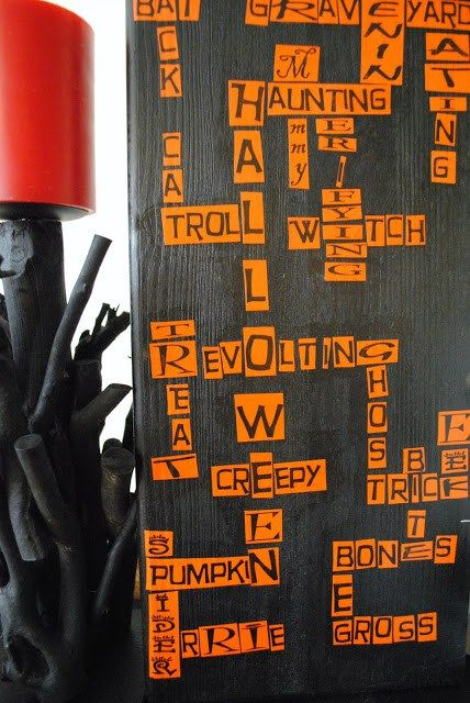 Halloween Scrabble Art made from card stock and Mod Podge