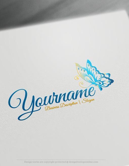 Design Free Logo: Luxury Online Logo Template #butterfly