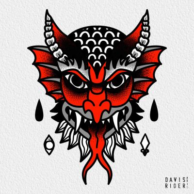 traditional devil tattoo....sorta getting close (for knee)