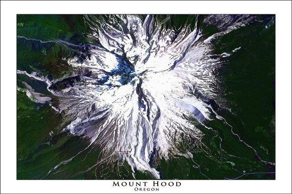 MOUNT HOOD Map Blue Print Map Topo Maps Wall by WaterColorMaps2
