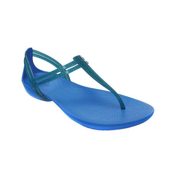 Women's Crocs Isabella T-strap Sandal ($35) ❤ liked on Polyvore featuring shoes, sandals, blue, casual, thong sandals, crocs huarache, blue shoes, flat thong sandals, strappy sandals and crocs shoes