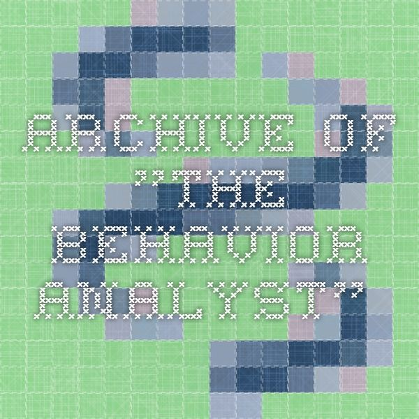 "Archive of ""The Behavior Analyst""."
