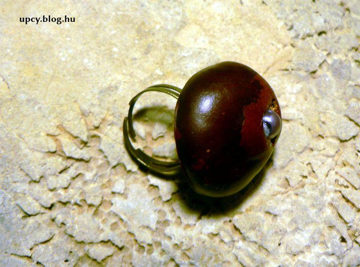 Chestnut ring with bead. Gesztenye gyűrű gyönggyel - útmutató.