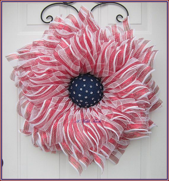 Patriotic Wreath 4th of July Wreath Red White Blue Wreath