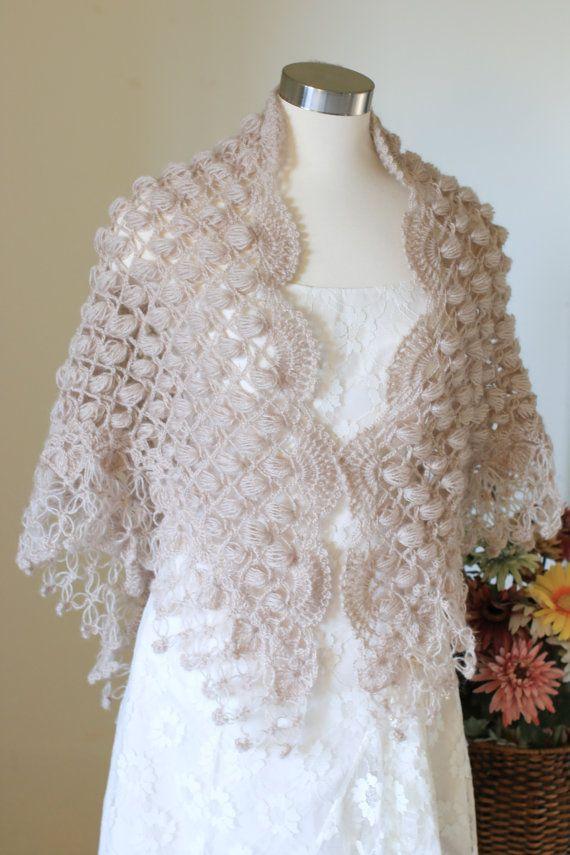 Winter WeddingCrochet Shawl Beige Shawl Shawl by MODAcrochet
