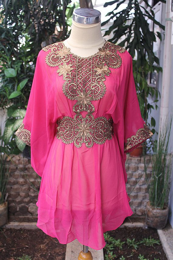 Moroccan Pink Chiffon Blouse Fancy Gold Embroidery Dubai Abaya Tunic Kaftan Dress - For Women $53