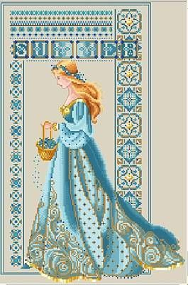 """beautiful alt colors for lavender and lace """"summer"""" celtic lady - has color substitutions for threads #crossstitch #pattern"""