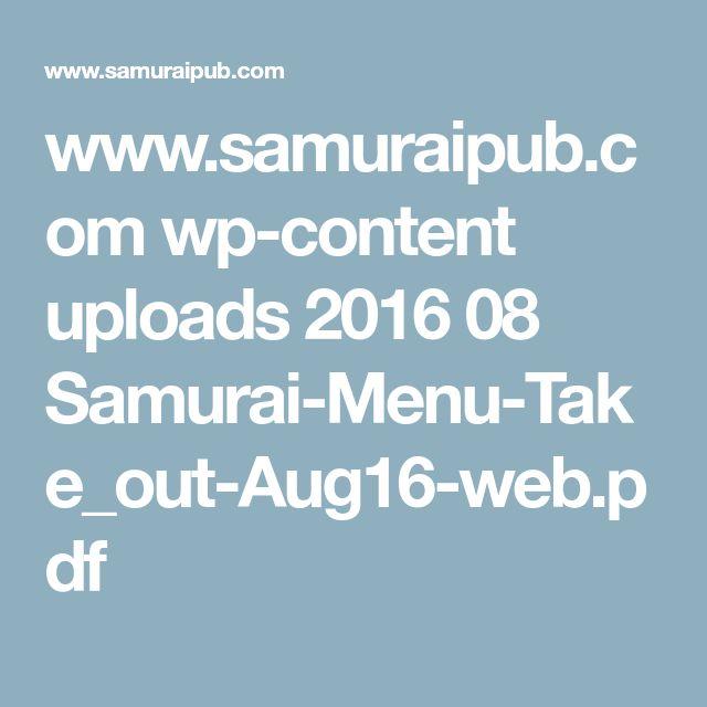 www.samuraipub.com wp-content uploads 2016 08 Samurai-Menu-Take_out-Aug16-web.pdf