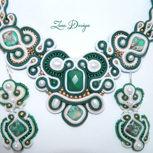 "New! Necklace and earrings  soutache ""Emerald"" | Zena Design"