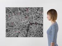 Beprikbare kaart van zwart vilt, Londen