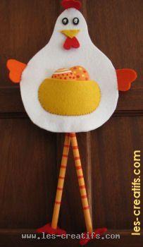 Décoration cocotte de Pâques en feutrine à faire avec les petits #enfant #bricolage