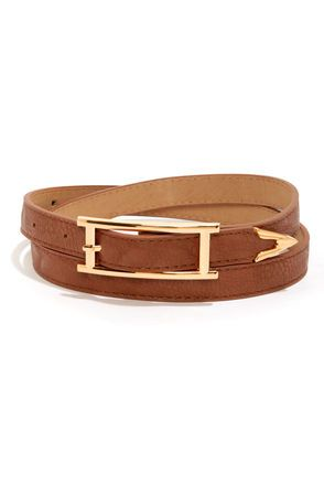 Arrow There Brown Belt at LuLus.com! I love the clean line of the buckle on this belt. So pretty!  #lulus #holidaywear