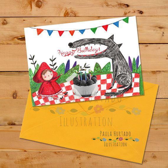 Happy Birthday Card Little Red Riding Hood printable  Tarjeta de felicitación ilustrada! Caperucita Roja y el lobo