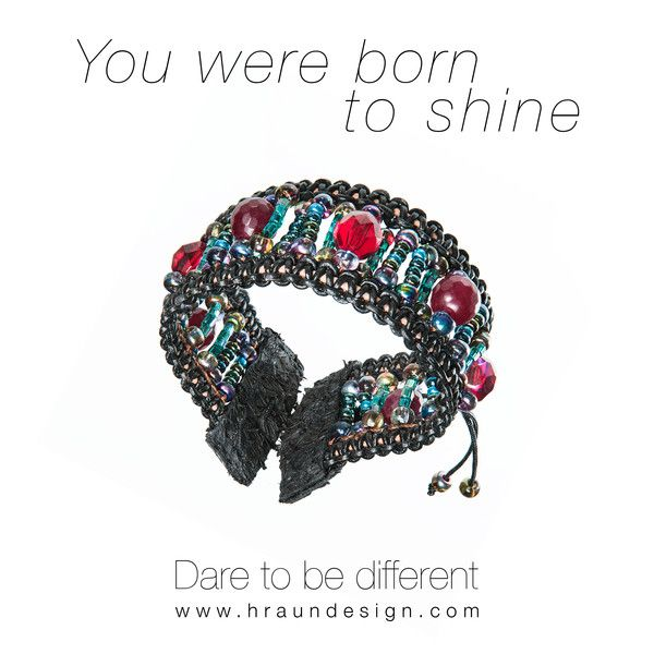 You were born to shine - Leather bracelet  with crystal and fish leather from Tales of travel. Available at Hraun art and design - #leather #bracelet #fishleather #crystal #fashion #woman #jewelry #handmade #beauty #style #love #red